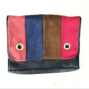 Vegan Suede & Leather Color Block Purse!